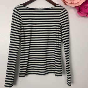 H&M striped tee scoop neck S white and navy blue